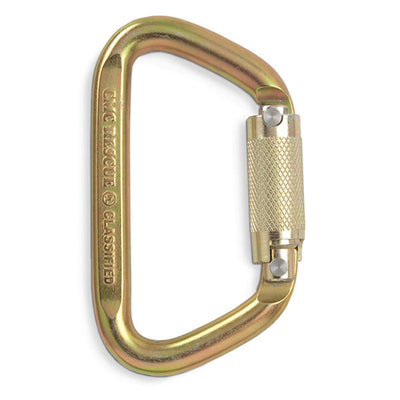 CMC Rescue Carabiner, 3-Stage Auto-Locking Steel D, Gold