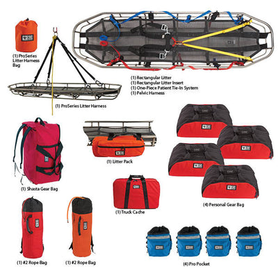 CMC Rescue Rope Rescue Team Kit W/4 Rescue Harnesses - Large/X-Large