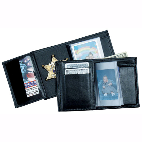 Perfect Fit Recessed Badge Wallet W/ 5 Cc Slots & Single Id, Black