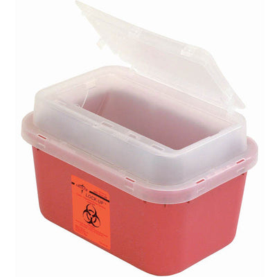 Medline Industries Sharps Biohazard Lock Up Container, Latex Free, Red W/