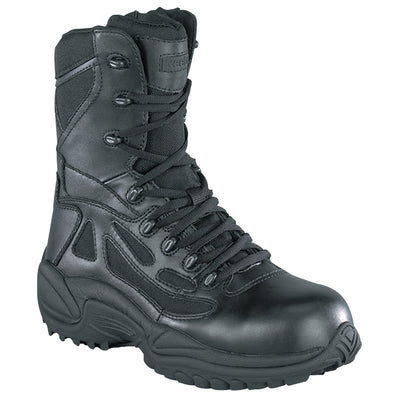 "Reebok Boots Rapid Response 8"" Side-Zip Safety Toe Boots, Black"