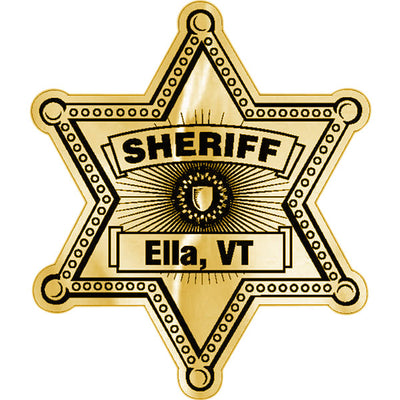 AD Concepts Custom Sheriff Stickers, 6-Point Star Foil Badge, Rolls Of 1,000