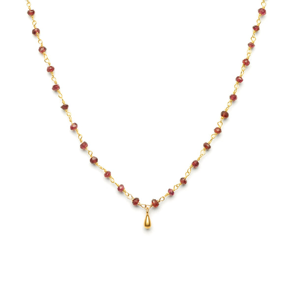 Small Drop Garnet Charm Necklace