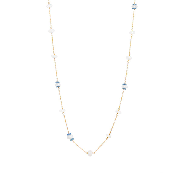 Moonstone and Kyanite Chain Necklace 28""