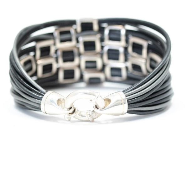 High Polish Sterling Silver Square Basketweave Leather Bracelet