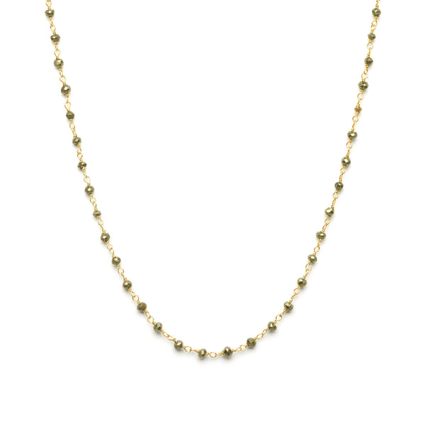 2mm Pyrite Beaded Necklace