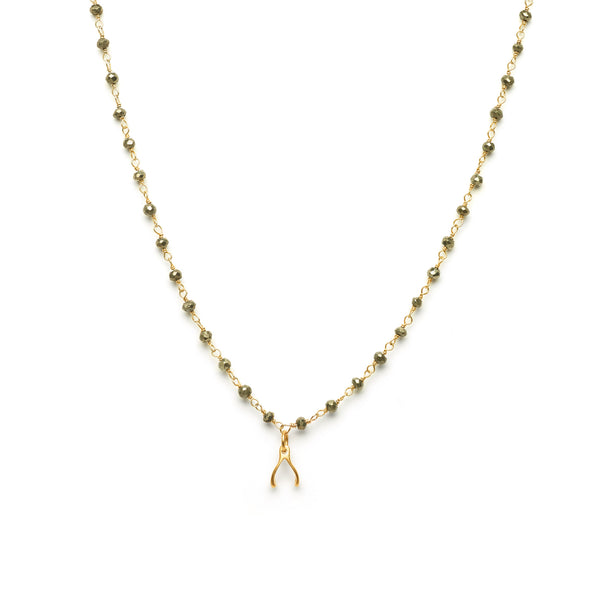 Wishbone Charm Necklace on Pyrite Chain