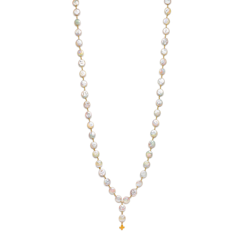 "40"" Pearl necklace with Small Gold Cross charm"