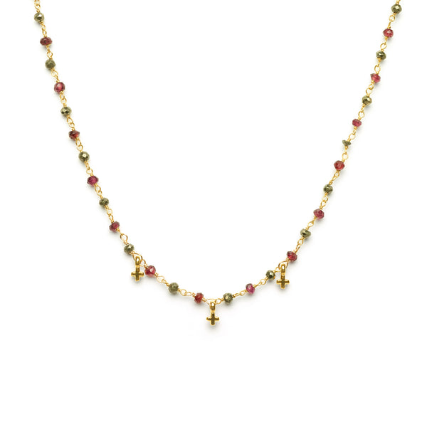 "3mm  22"" Grey Pyrite and Garnet with  3 mini 24 Karat gold filled cross"