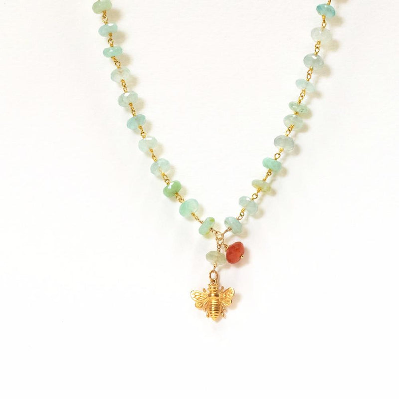 Aquamarine and Carnelian Bee Necklace