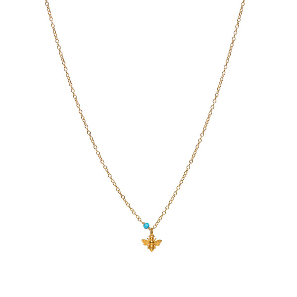 Small Bee Charm and Turquoise on Gold Filled Chain