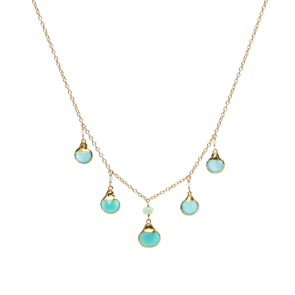 Blue Chrysoprase Chain Drop Necklace 18""
