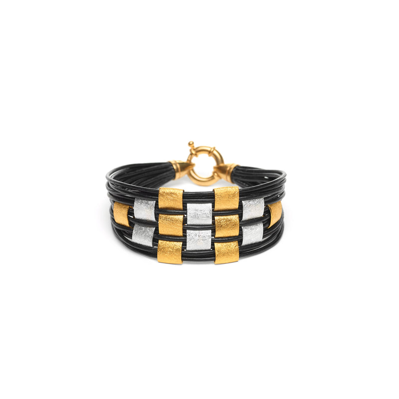 Gold Filled and Sterling Silver Square Basketweave Leather Bracelet