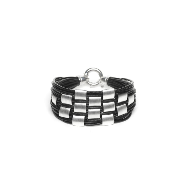 Matte Sterling Silver Square Basketweave Leather Bracelet