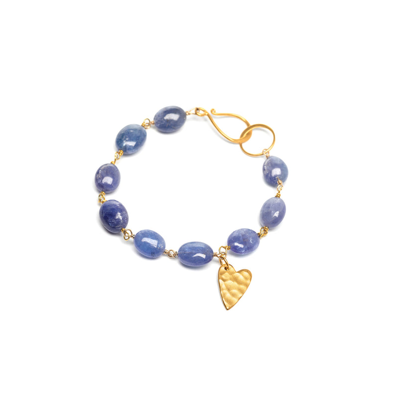 Tanzanite Bracelet with Gold Heart Charm