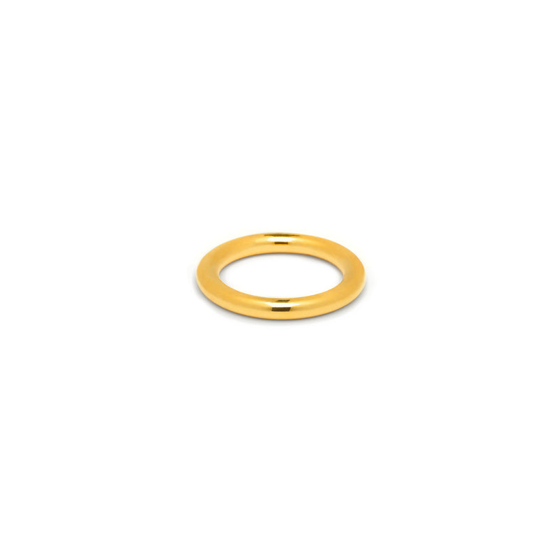 Single 3mm Round Band in Gold, High Polish