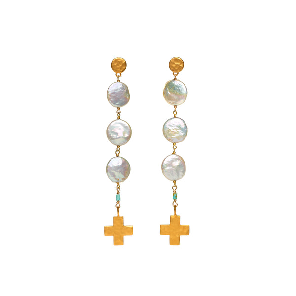 Coin Pearl and Gold Cross Earrings