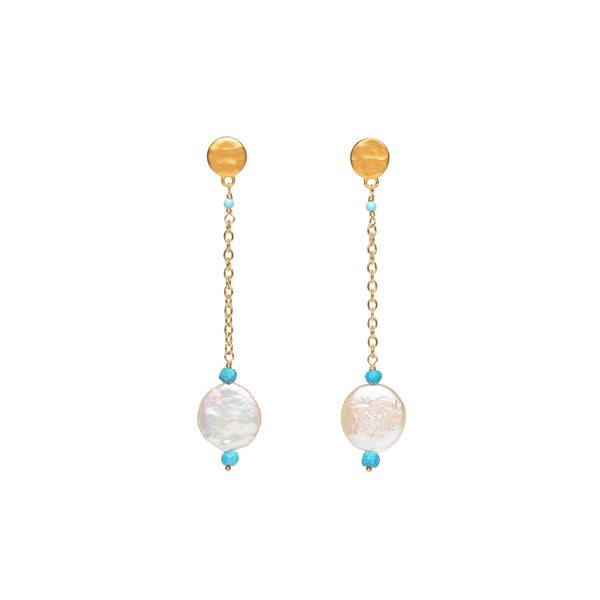 Coin Pearl and Turquoise Drop Earrings