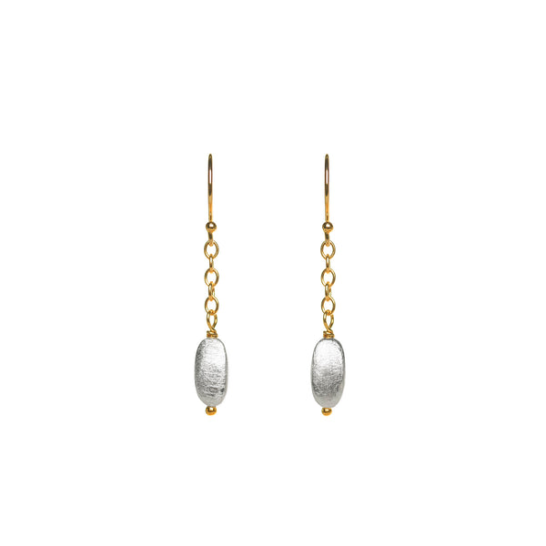 Silver Bean with Gold Chain Earrings