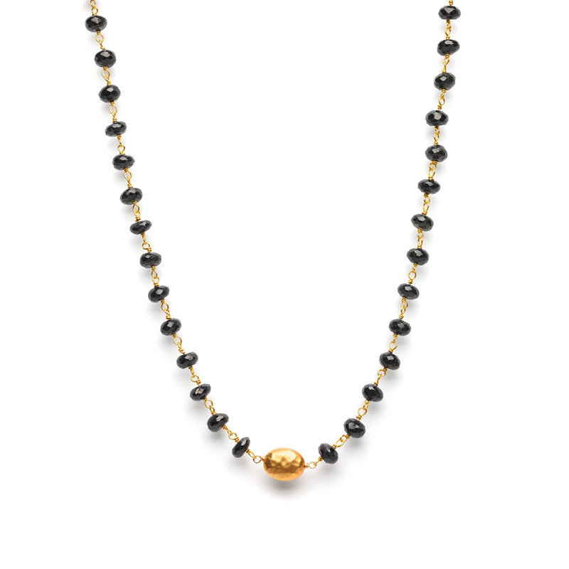 Black Spinel with 24 Karat gold filled Lentil Necklace