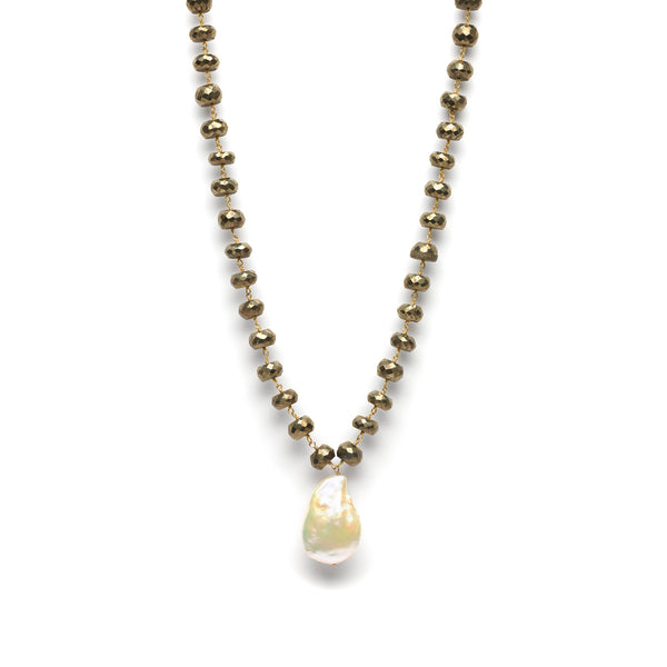 Grey Pyrite Necklace with Baroque  Pearl