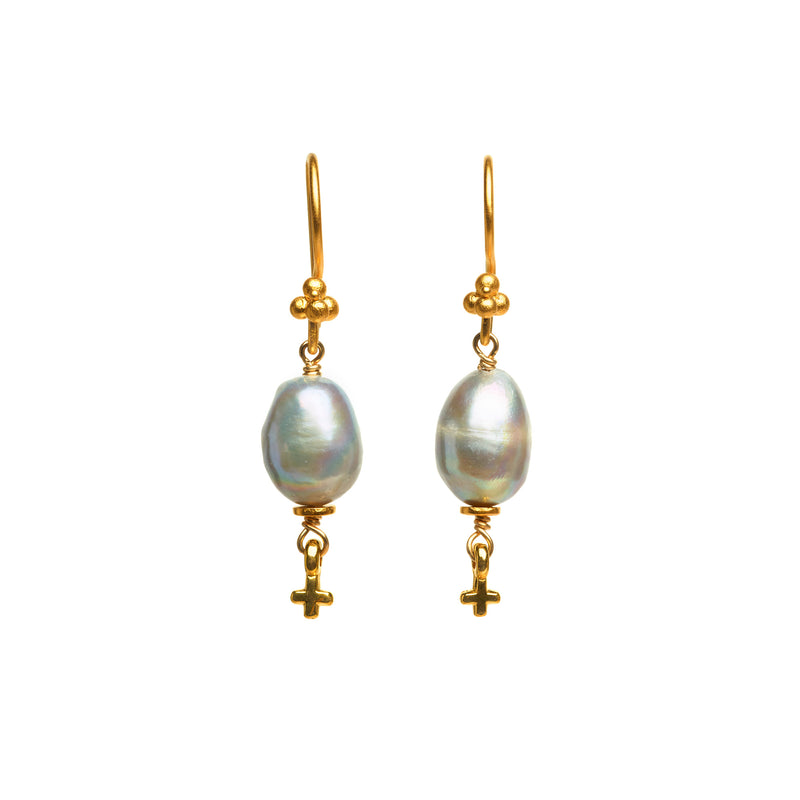 Silver Pearl and Mini Cross Earrings