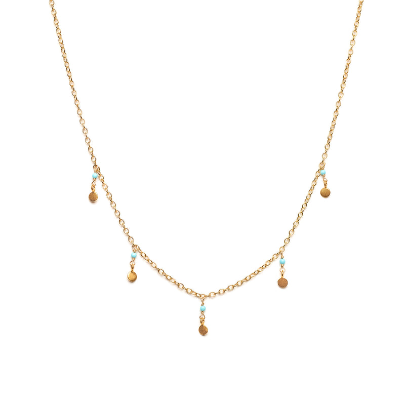 Dainty Turquoise and Gold Dot Necklace