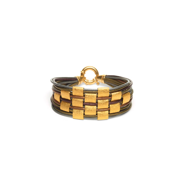 Gold Filled Square Basketweave Leather Bracelet