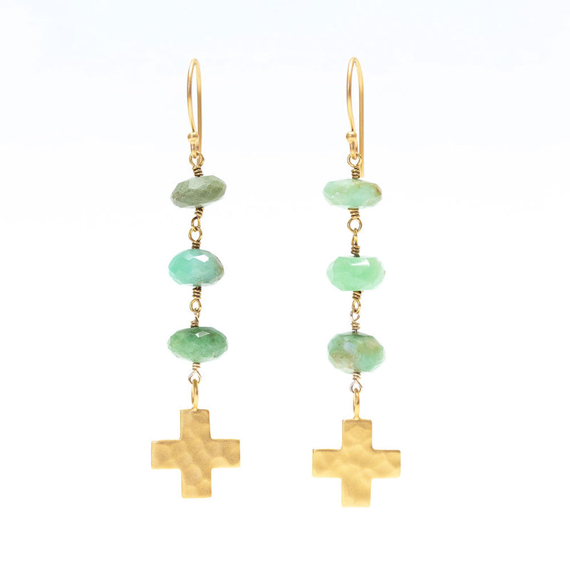 Chrysoprase and 22 Karat Gold Filled Cross Earrings
