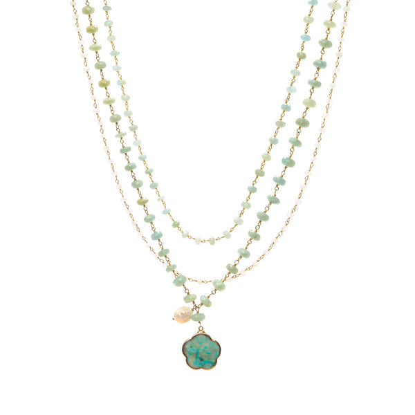 Chrysoprase Charm Drop Necklace with Pearl