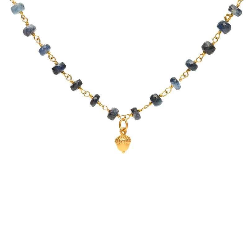 Ombre Sapphires Layering necklace with Acorn charm