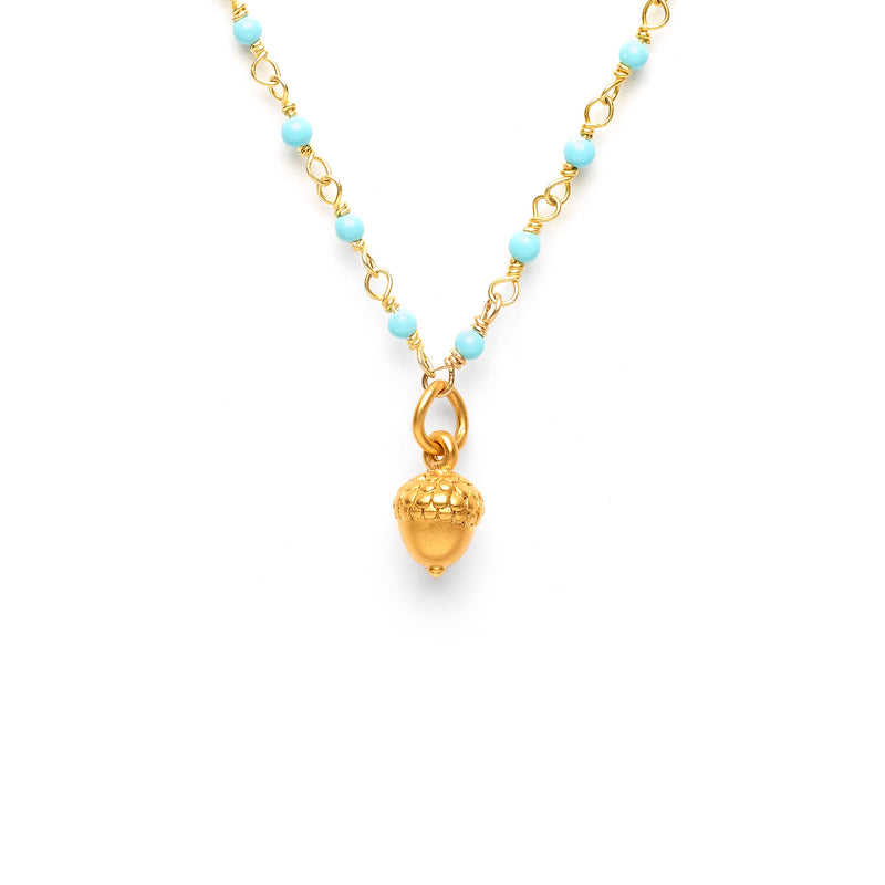 """ Intention"" Acorn Charm on Kingman Turquoise Necklace"