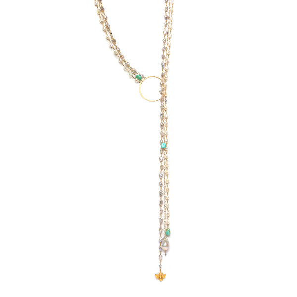 Triple Charming Lariat Necklace