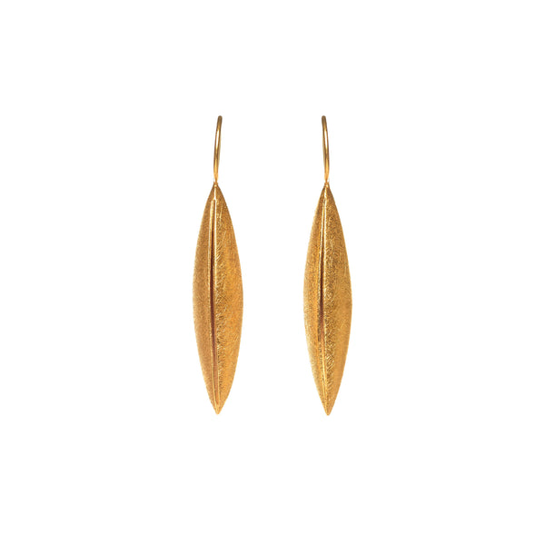 Gold Textured Navette Earring