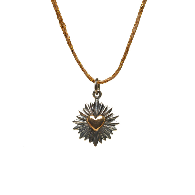 Heart Burst Necklace on Gold Cord