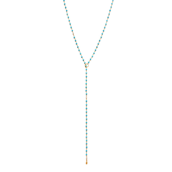 Kingman Turquoise Lariat with Gold Drop