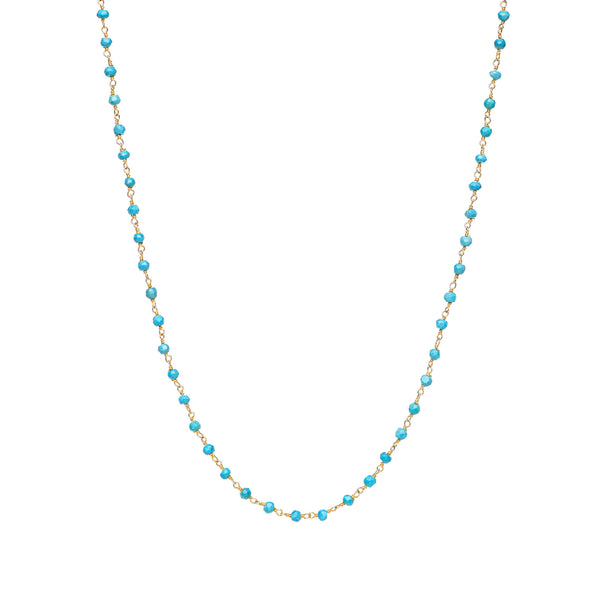 2mm Kingman Turquoise Beaded Necklace