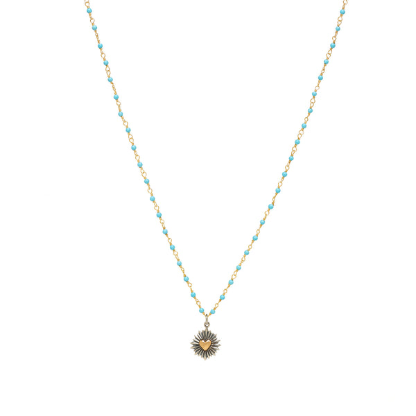 Kingman Turquoise Necklace with Heart Burst Charm