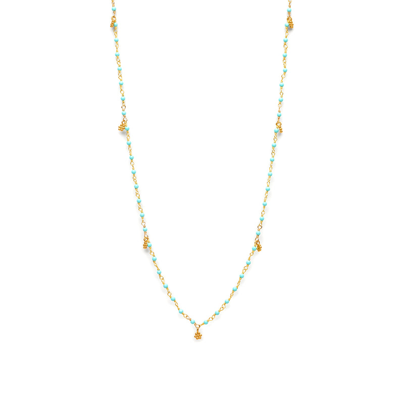 Kingman Turquoise charm necklace with Gold Florettes