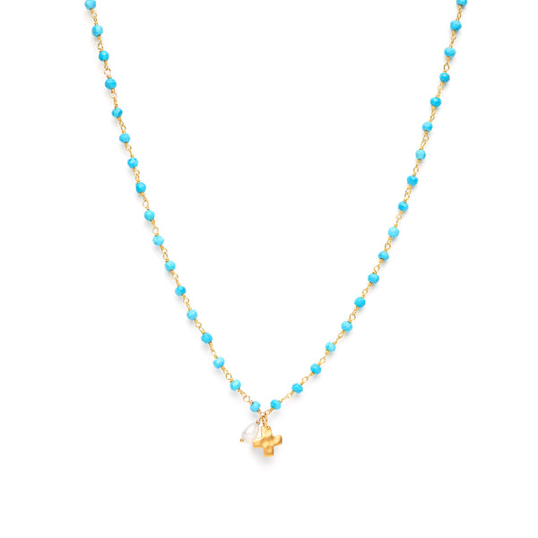 Small Cross Charm on Blue Turquoise Necklace