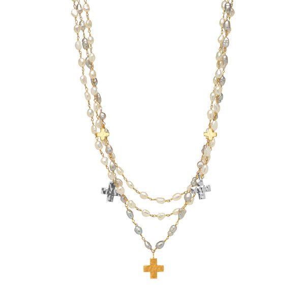 White and Grey Pearl Three Strand Necklace with Crosses