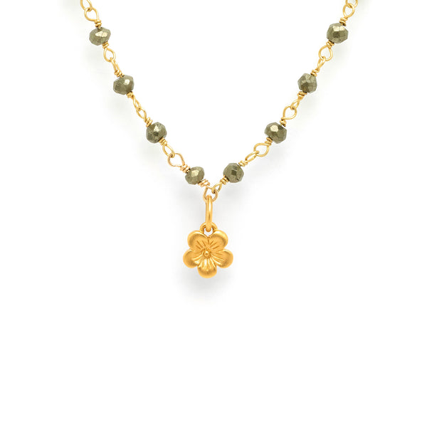 Pyrite Plum Blossom Charm Necklace