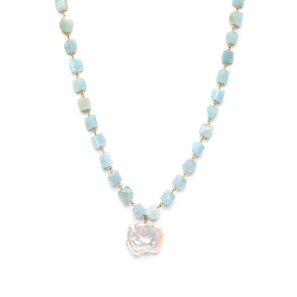 Raw Aquamarine Necklace with Fresh Water
