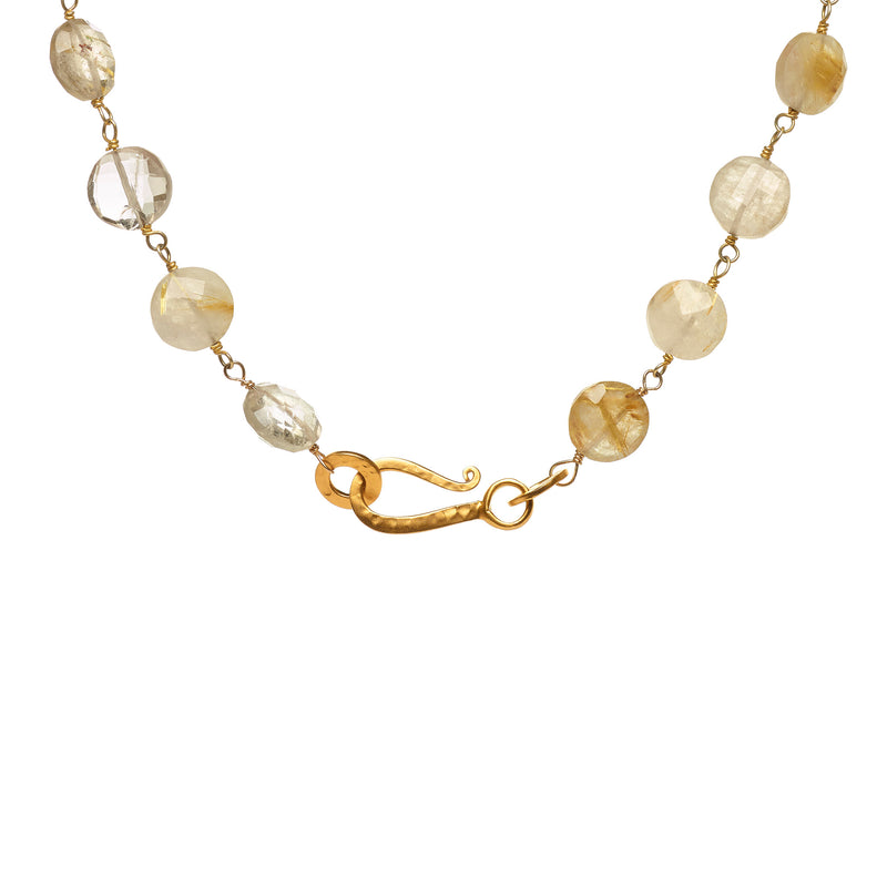 Rutilated Quartz and Golden Sphere Necklace