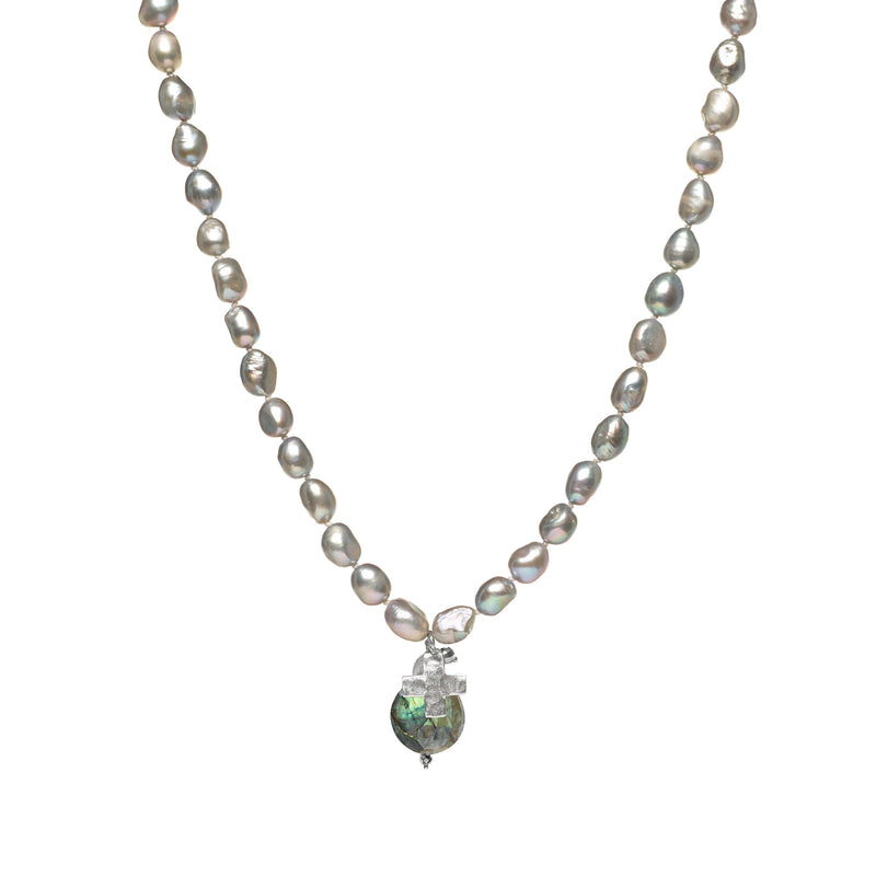 Silver Peacock Pearl Necklace with Sterling Silver Cross Charm