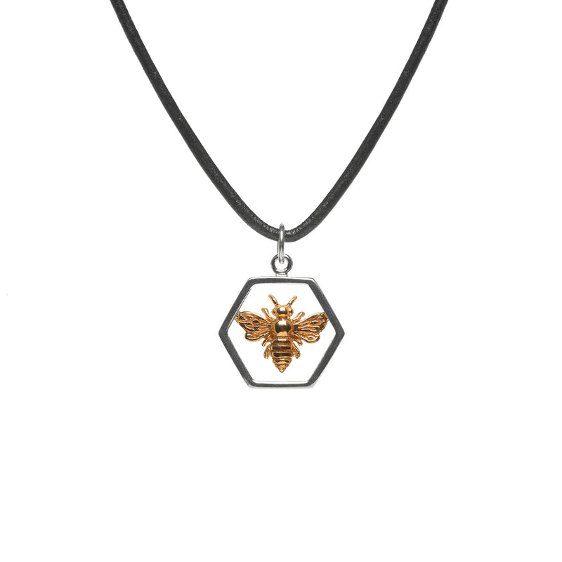 Silver Hexagon Bee Charm Necklace on Black Leather Cord