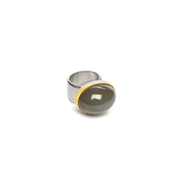 Smokey Moonstone with 22 Carat gold and Sterling Silver band