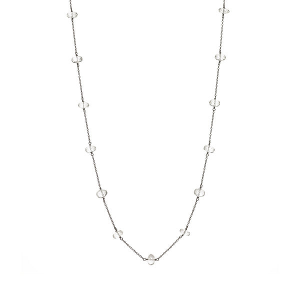 Oxidized Sterling Silver Chain with Clear Quartz Stone