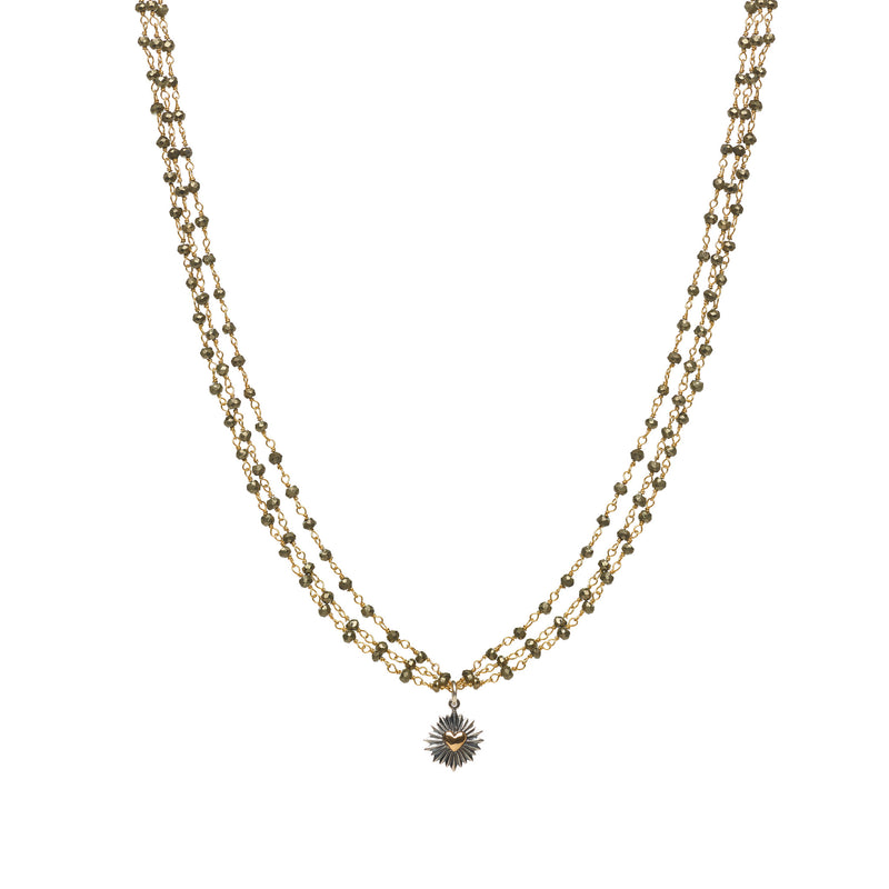 Three Strand Pyrite Necklace with Heart Burst Charm