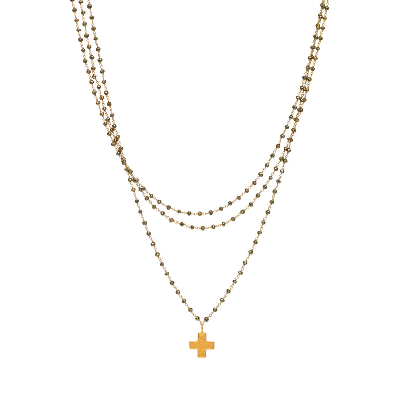 Pyrite Triple Strand with Cross Charm